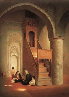 Two Mothers with their kids in a Mosque