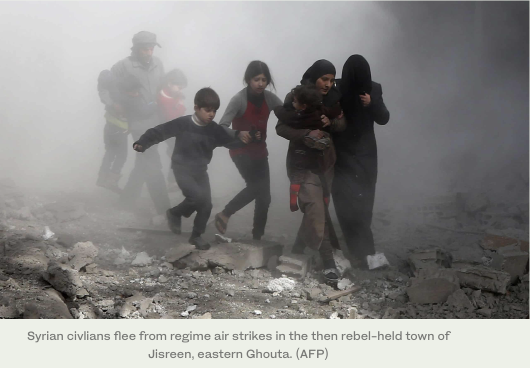 Syrian-civlians-flee-from-regime-air-strikes
